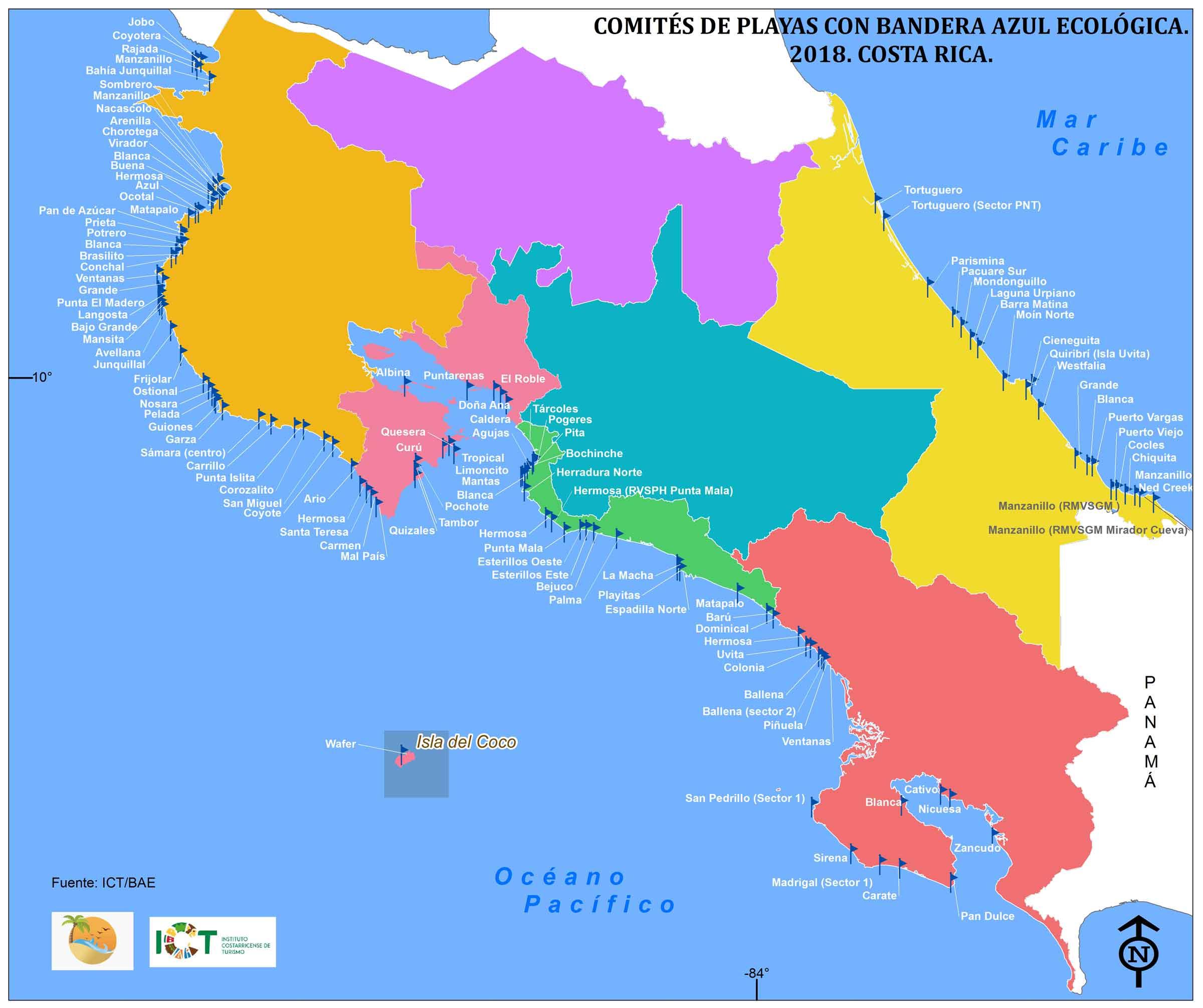 Mapa De Costa Rica.Ecologic Blue Flag Program Instituto Costarricense De