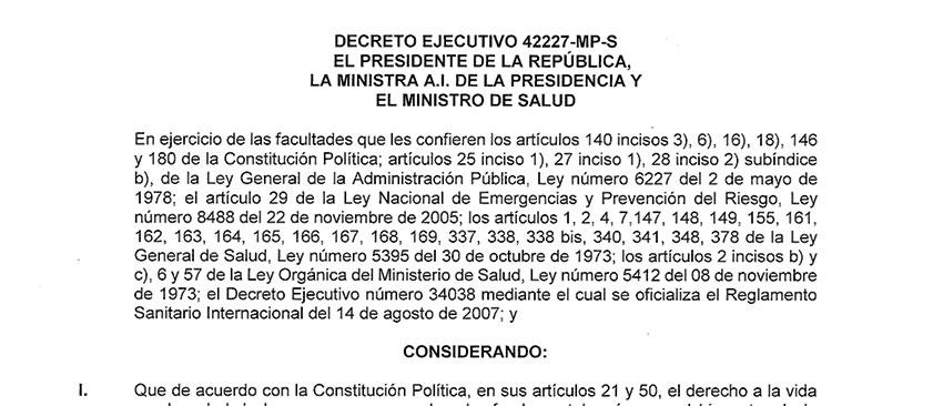 Decreto Ejecutivo 42227 Emergencia Nacional