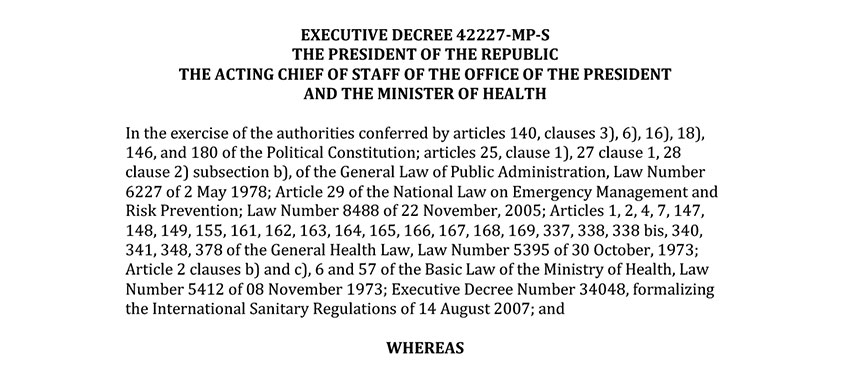 Decreto Ejecutivo 42227 Emergencia Nacional - English