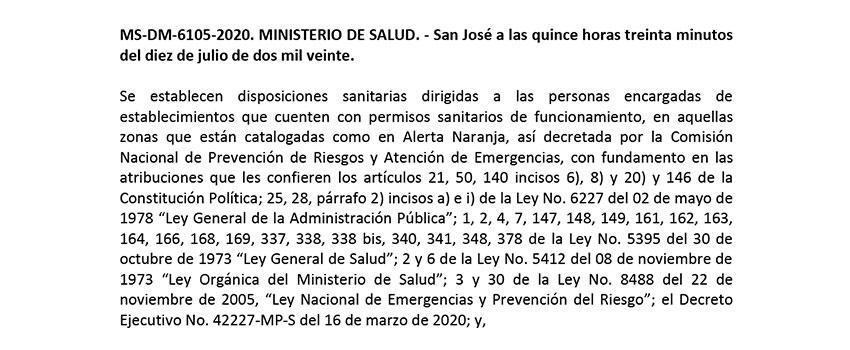 MS-DM-6105-2020 Resolución establecimientos PSF Alerta Naranja del 11 al 19 de julio 2020