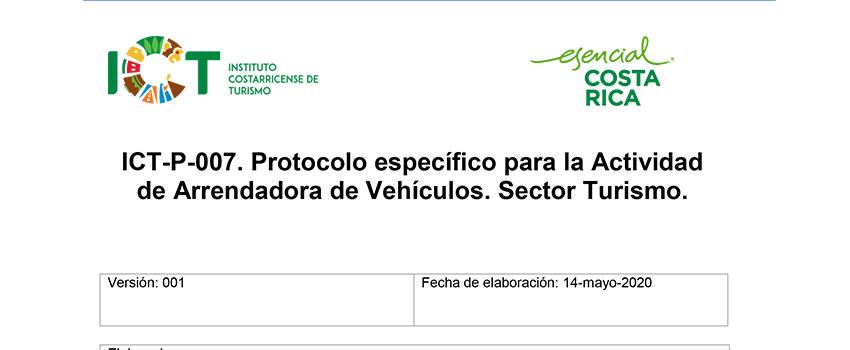 Protocolo ICT-P-007 Sub sector Arrendadora de Vehículos