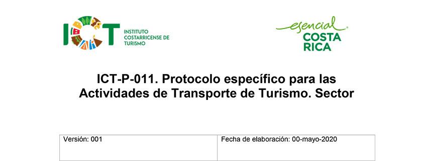Protocolo ICT-P-011 Protocolo específico para las Actividades de Transporte de Turismo Sector Turismo