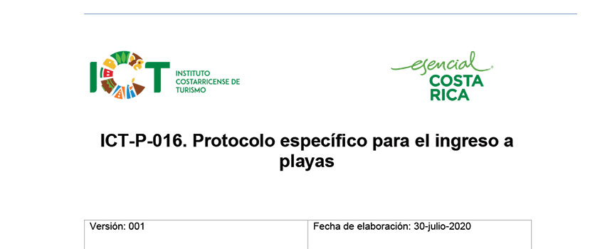 Protocolo ICT-P-016 Protocolo Ingreso a Playas