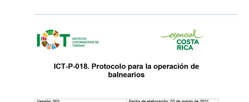 Protocolo ICT-P-018 Para la operación de balnearios