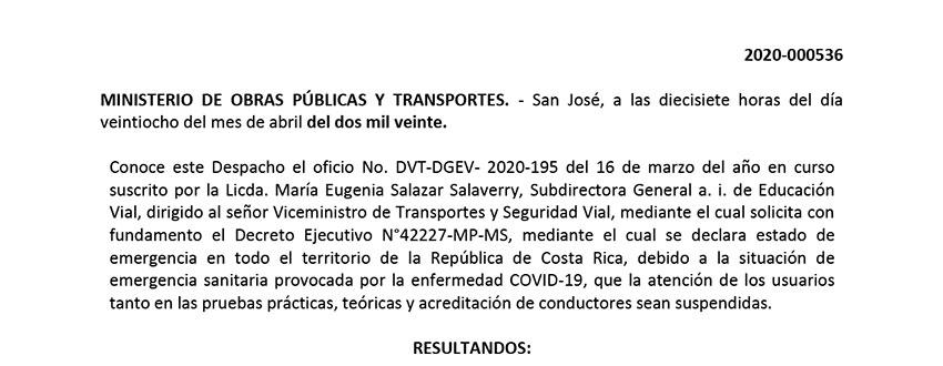 RESOLUCION 2020-000536   EDUCACION VIAL EXTENSIÓN DE PLAZO AL 15 de MAYO 2020