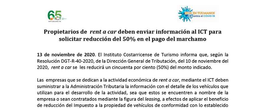 Statement Propietarios de rent a car deben enviar informacion al ICT para solicitar reduccion del 50% en el pago del marchamo